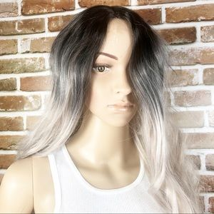 Grey Black Long Wavy Curly Synthetic Cosplay Wig